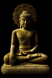 Buddha statue sitting meditation. Carved from sandstone