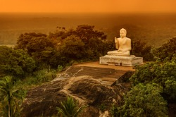 Buddha statue.Temple in Sri lanka.Buddha in Meditation.