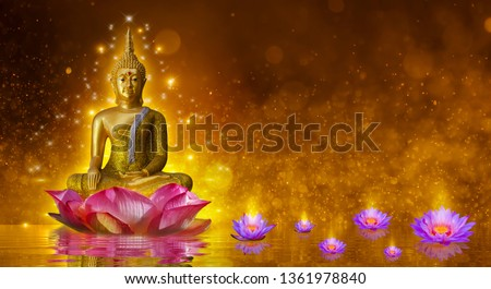 Buddha statue water lotus Buddha standing on lotus flower on orange background #1361978840
