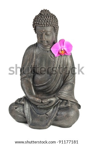 Buddha statue with orchid against white background