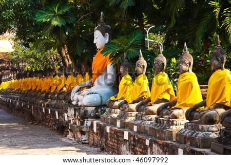 Buddha statues at the temple of Wat Yai Chai Mongkol in Ayutthaya near Bangkok, Thailand