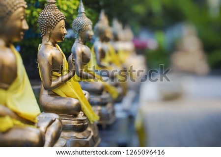 Buddha Statues in Seema Malaka Temple, Colombo, Sri Lanka. Selective Focus.