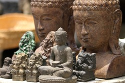 Buddha stone statues at the market in Ubud, Bali