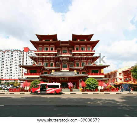Singapore Temple Picture on Buddha Tooth Relic Temple In China Town Singapore Stock Photo 59008579