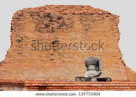 Buddha without head in front of broken bricks at historical park, Ayutthaya, thailand