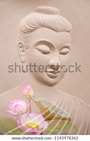 buddha wooden carving.Mural paintings tell the story about the Buddha's history. double exposure of the lotus flower or water lily and face of buddha statue.