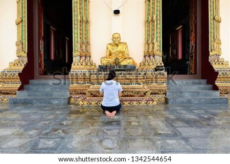Buddha worshipping in Koh Samui, Thailand.