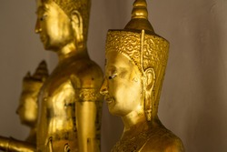 Buddhas at Wat temple in the Bangkok, Thailand