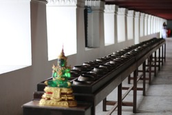 Buddhism art, cultural Thai peaceful spritual statue, traditional of Asian temple.