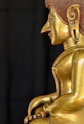 Buddhism statue ,Buddhism religion on black background.