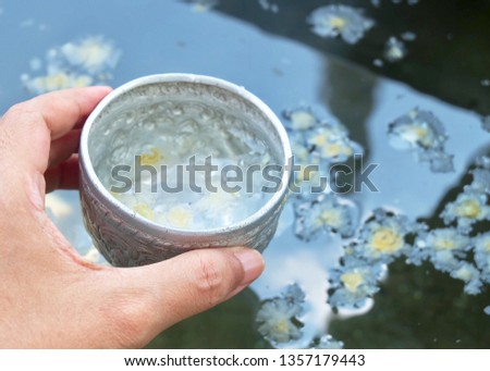Buddhist Hand Holding A Small Bowls with Holy Water or Blessed Water, Used to Drink, Cleaning The Body and Blessing for Protection and Good Luck.