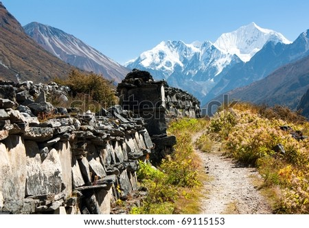 Buddhist mani stones in langtang himal
