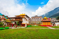 Buddhist Monastery and Temple in Manali town, Himachal Pradesh state of India