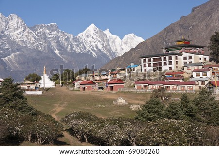 Buddhist Monastery at Tengboche (3860 Metres) on the trekking route to Everest Base Camp. Himalaya Mountains, Nepal.