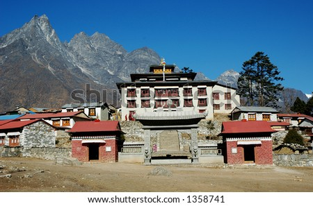 Buddhist monastery close Tyangboche village.This monastery is the most high situated in Nepal