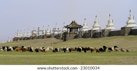 buddhist monastery in mongolia - stock photo