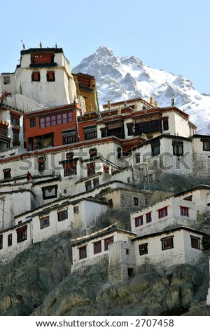 Buddhist monastery in the Himalayas (Ladakh, Kashmir, India) - stock photo