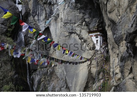 Buddhist monastery perched in a rock - Tiger's Nest - West Bhutan - Asia