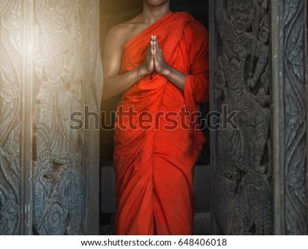 Buddhist Monk hands , meditation or pray Foto stock ©