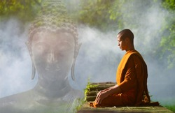 Buddhist monks meditate to calm the mind.
