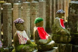 Buddhist monuments in the Okunoin cemetery in Koyasan Mount Koya, UNESCO world heritage site and a 1200 years old center of Japanese sect of of Shingon Buddhism in Wakayama Japan
