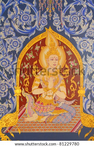 Buddhist murals. Thai temple in northeastern Thailand.