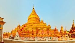 Buddhist pagoda Shwezigon in Bagan. Myanmar. Panorama