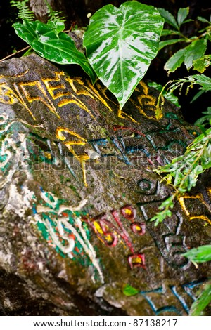Buddhist prayer stone with mantra wet after rain