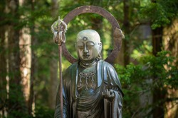 Buddhist sculpture in the Okunoin cemetery in Koyasan Mount Koya, UNESCO world heritage site and a 1200 years old center of Japanese sect of of Shingon Buddhism in Wakayama Japan
