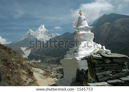 Buddhist Stupa and Ama-Dablam Mount in the background