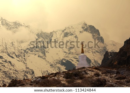 buddhist stupa in mountains in Sagarmatha region,Himalaya