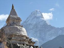 Buddhist Stupa on the route to Everest Base Camp in Nepal, Ama Dablam in background