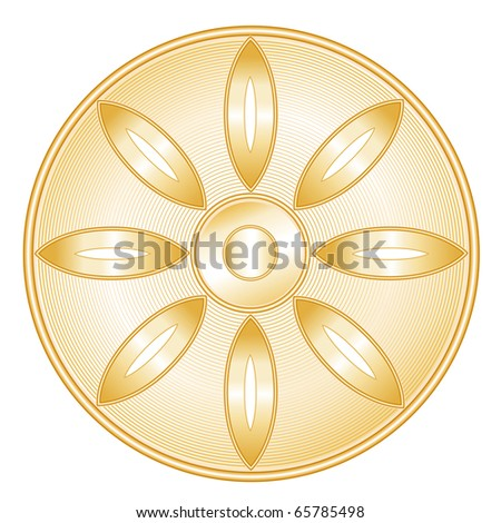 Buddhist Symbol. Golden icon of the Buddhist faith. Lotus blossom, Wheel of Dharma, isolated on a white background.
