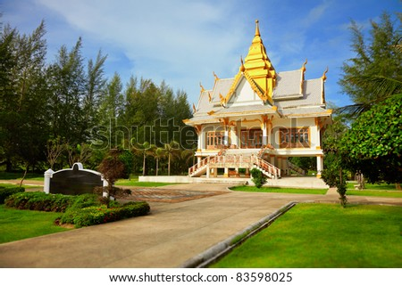 Buddhist temple among the tropical vegetation - Thailand, Phuket