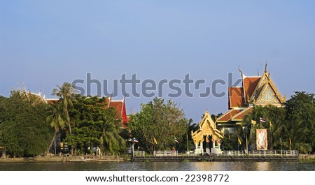 Buddhist temple by the Chao Praya river in Pak Kred, Nontaburi province in Thailand.