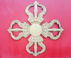 Buddhist temple decorations religious symbol golden carvings wood colorful elements