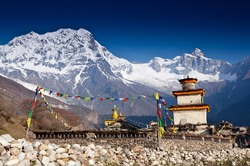 Buddhist temple in mountains - Nepal