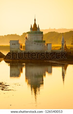 Buddhist temple near U bein bridge at Amarapura Mandalay Myanmar