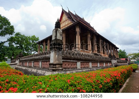 Buddhist temple with blue sky