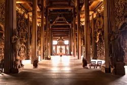 Buddhist Wooden Carvings Thailand Temple. Interior Sanctuary of Truth. Pattaya. Thailand.
