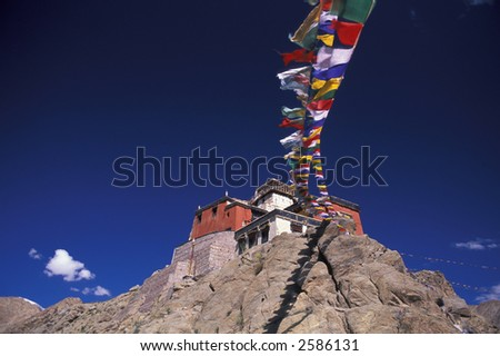 Buddhistic monastery Leh, Ladakh - stock photo