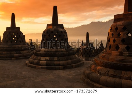 Buddist temple Borobudur on sunset Yogyakarta Java Indonesia
