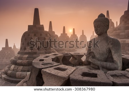 Buddist Temple Borobudur Taken at Sunrise. Yogyakarta, Indonesia