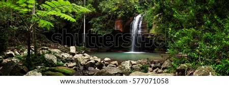 Buderim Falls, also known as Serenity Falls, is a popular destination for tourists and locals alike on the Sunshine Coast of Queensland, Australia. #577071058