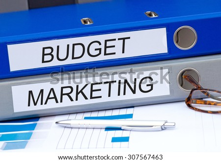 Budget and Marketing - two binders on desk in the office #307567463