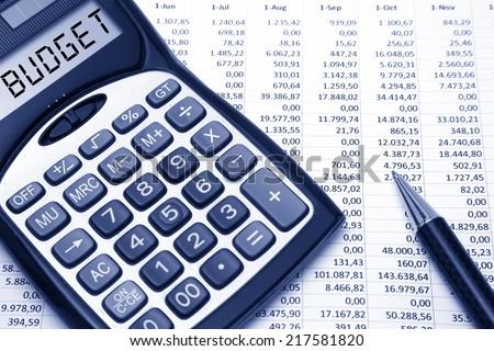 Budget Concept Budget text on calculator