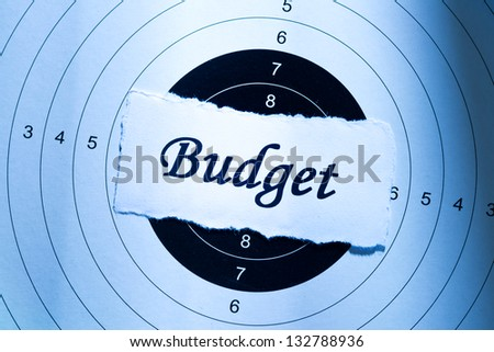 Budget concept, word on target paper