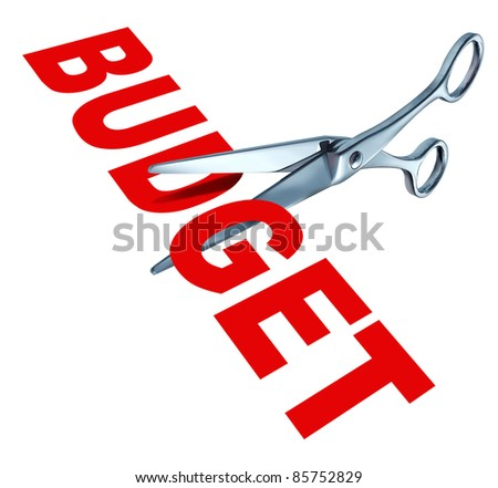 Budget cuts symbol for reducing budgeted expenditures by slashing costs and eliminating financial surplus represented by sharp open metal scissors.