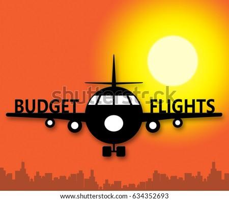 Budget Flights Plane Means Special Offer 3d Illustration
