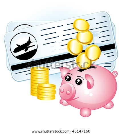 Budget savings for travel. Tickets and piggy bank  illustration.